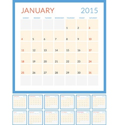 Calendar 2015 flat design template set of 12 vector