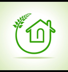 Eco home icon with leaves on white background vector image