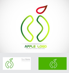 Green apple healthy food logo icon vector