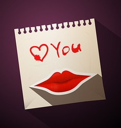 Love you title with heart and mouth on paper vector