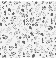 Hand drawn flowers and plants seamless pattern vector