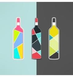 wine bottle logo set in modern low poly vector image