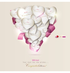 elegant background with gift cards hearts vector image