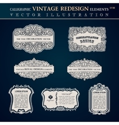 Calligraphic old vintage elements labels and vector