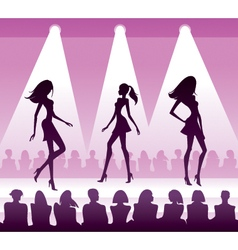 Audience see new clothes at fashion review vector image