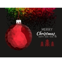 Merry christmas happy new year red ornament ball vector image