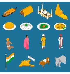 Indian touristic attractions isometric icons vector