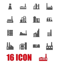 grey factory icon set vector image