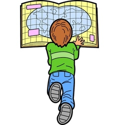 Boy reading map vector