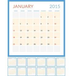 Calendar 2015 flat design template set of 12 vector