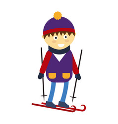Christmas boy playing winter game happy leisure vector