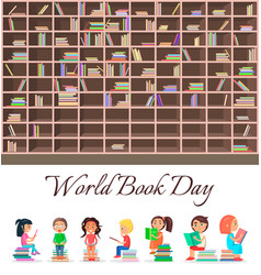 Concept of world book day with big brown bookcase vector