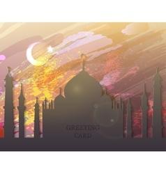 Eid al fitr card - watercolor mosque vector