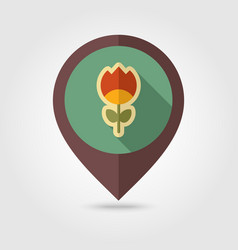 flower flat pin map icon vector image vector image