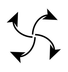 Four arrows in loop from center vector