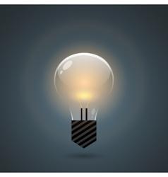 Glowing bulb on dark background vector