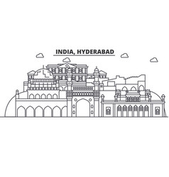 Hyderabad india architecture line skyline vector