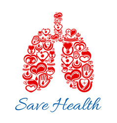 lungs symbol of heart and blood medicines vector image vector image