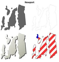 Newport map icon set vector