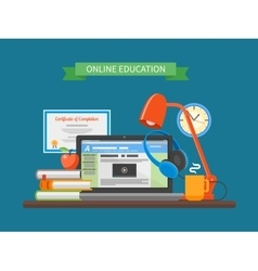 Online education concept in vector