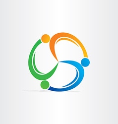 people in circle teamwork symbol vector image