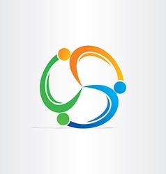 people in circle teamwork symbol vector image vector image