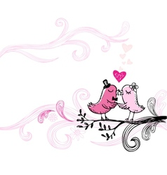 Romantic kissing birds vector