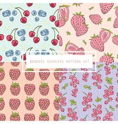 Seamless berries pattern set vector image