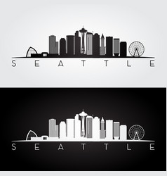 seattle usa skyline and landmarks silhouette vector image