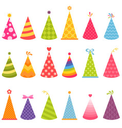 Set of colorful birthday hats vector