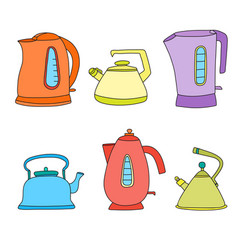 tea time cartoon set isolated objects vector image vector image