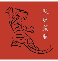 tiger Red background vector image