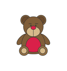 Toy icon flat bear vector