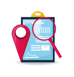 ubication and search symbol with delivery forecast vector image
