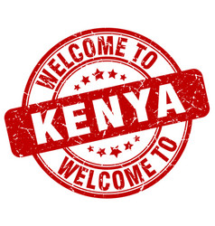 welcome to kenya red round vintage stamp vector image
