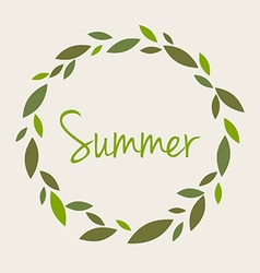word summer in a round wreath branches leaves Ty vector image vector image