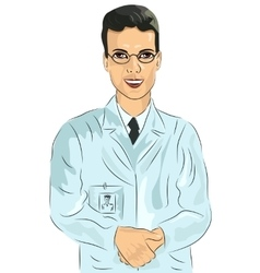 Young male doctor with glasses vector