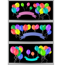 Banners with balloons and ribbons vector