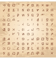 Alien hieroglyphics carved in stone vector