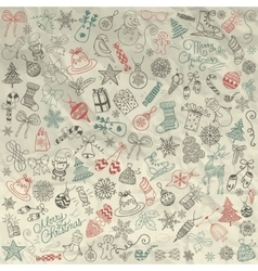 Hand drawn artistic christmas doodles clip vector
