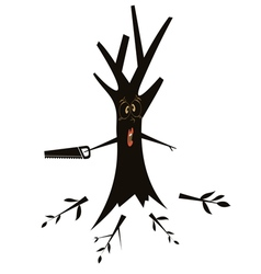 Tree using a hacksaw vector image