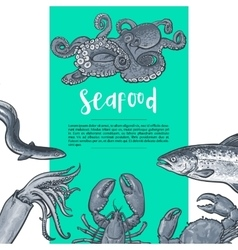 Seafood hand drawn sketch style vintage banner vector