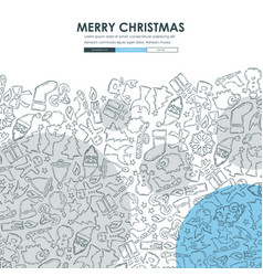 christmas doodle website template design vector image