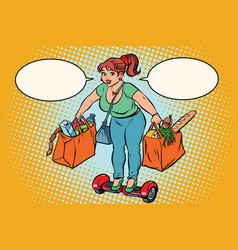 young woman with grocery shopping on gyrometer vector image