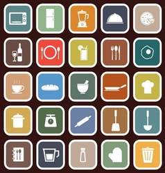 Kitchen flat icons on red background vector