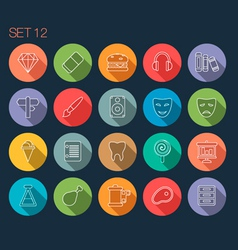 Round thin icon with shadow set 12 vector