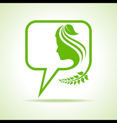 Eco message bubble icon with women face vector