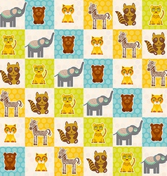 Set of funny animals bear cat raccoon zebra tiger vector