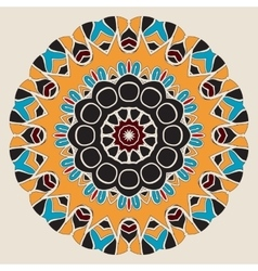 Oriental mandala motif round lace pattern vector