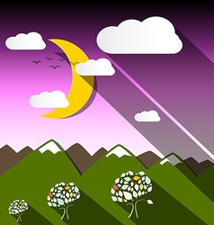 Night mountain landscape with moon vector
